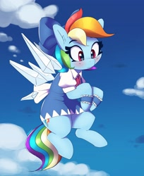 Size: 2723x3336   Tagged: safe, artist:pabbley, rainbow dash, pegasus, pony, blushing, bow, cirno, clothes, cosplay, costume, dress, female, flying, hair bow, mare, solo, touhou