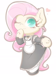 Size: 1406x1920 | Tagged: safe, artist:phoenixrk49, fluttershy, pegasus, bipedal, clothes, female, heart, maid, mare, solo