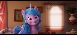 Size: 2400x1080 | Tagged: safe, screencap, izzy moonbow, pony, unicorn, g5, my little pony: a new generation, cute, female, izzybetes, mare, open mouth, open smile, smiling, solo