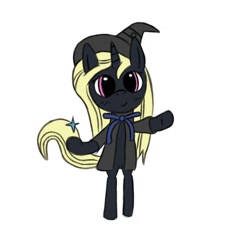 Size: 1000x1000 | Tagged: safe, artist:symphonydawn3, oc, oc only, oc:rationale darkness, unicorn, female, horn, mare, simple background, solo, standing, standing on two hooves, unicorn oc, white background, witch