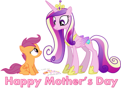 Size: 835x608   Tagged: safe, artist:bronybyexception, princess cadance, scootaloo, alicorn, pegasus, pony, caption, cutie mark, deviantart, female, filly, image macro, mare, monochrome, mothers day 2017, non canon, princess of love, simple background, text, transparent background, vector
