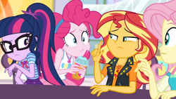 Size: 3410x1920   Tagged: safe, screencap, fluttershy, pinkie pie, sci-twi, sunset shimmer, twilight sparkle, equestria girls, equestria girls series, rollercoaster of friendship, bowtie, clothes, cutie mark, cutie mark on clothes, female, geode of empathy, geode of sugar bombs, geode of telekinesis, glasses, high res, jacket, jewelry, leather, leather jacket, magical geodes, necklace, ponytail, tanktop
