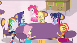 Size: 3410x1920   Tagged: safe, screencap, applejack, fluttershy, pinkie pie, rainbow dash, rarity, sci-twi, sunset shimmer, twilight sparkle, equestria girls, equestria girls series, rollercoaster of friendship, applejack's hat, bracelet, cellphone, clothes, cowboy hat, cutie mark, cutie mark on clothes, denim skirt, female, geode of sugar bombs, geode of super speed, geode of super strength, geode of telekinesis, glasses, hat, high res, hoodie, humane five, humane seven, humane six, jewelry, magical geodes, necklace, phone, ponytail, rarity peplum dress, shoes, skirt, smartphone, smiling, sneakers
