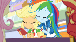 Size: 3410x1920   Tagged: safe, screencap, applejack, fluttershy, rainbow dash, sunset shimmer, equestria girls, equestria girls series, rollercoaster of friendship, applejack's hat, cellphone, clothes, cowboy hat, cutie mark, cutie mark on clothes, eyes closed, female, geode of super speed, geode of super strength, hat, high res, jacket, jewelry, leather, leather jacket, lip bite, magical geodes, necklace, phone, smartphone