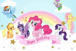Size: 4661x3175   Tagged: artist needed, source needed, safe, applejack, fluttershy, pinkie pie, rainbow dash, rarity, spike, twilight sparkle, alicorn, dragon, earth pony, pegasus, pony, unicorn, cloud, cutie mark, happy birthday, hat, horn, mane seven, mane six, rainbow, stars, stock vector, twilight sparkle (alicorn), wings