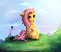 Size: 4000x3430 | Tagged: safe, artist:miokomata, fluttershy, butterfly, pegasus, pony, blushing, colored hooves, cute, daaaaaaaaaaaw, female, freckles, freckleshy, grass, looking at you, mare, miokomata is trying to murder us, shyabetes, sitting, solo