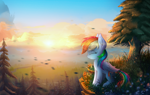Size: 5000x3167 | Tagged: safe, artist:atlas-66, edit, rainbow dash, pegasus, pony, absurd resolution, canterlot, cliff, cloud, cute, dashabetes, eyes closed, female, forest, mare, outdoors, profile, scenery, sitting, smiling, solo, sun, tree