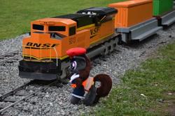 Size: 1620x1080 | Tagged: safe, oc, oc:steel road, locomotive, photo, plushie, rail, railroad, railway station, railway track, sopot, train, train station