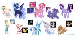 Size: 3600x1754 | Tagged: safe, artist:waackery, pinkie pie, princess luna, rarity, twilight sparkle, alicorn, earth pony, eevee, glaceon, pegasus, pikachu, pony, sylveon, unicorn, alternate cutie mark, bat wings, hello kitty (character), joy (inside out), pegasus pinkie pie, pokémon, race swap, raised hoof, redesign, sketch, tongue out, twilight sparkle (alicorn), unicorn twilight, wings