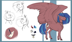 Size: 1561x915 | Tagged: safe, artist:penrosa, oc, oc only, pegasus, pony, abstract background, bust, choker, female, mare, nose piercing, nose ring, pegasus oc, piercing, reference sheet, smiling, wings