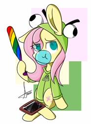 Size: 1013x1366   Tagged: safe, artist:lavdraws, fluttershy, pegasus, pony, baseball bat, bubblegum, clothes, fluttgirshy, food, gir, gum, hoodie, solo