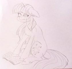 Size: 2048x1965   Tagged: safe, artist:nightydream99, twilight sparkle, earth pony, unicorn, book, chest fluff, ear fluff, floppy ears, pencil drawing, solo, traditional art, unicorn twilight