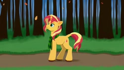 Size: 1200x675   Tagged: safe, artist:redquoz, sunset shimmer, unicorn, 1920x1080, autumn, clothes, female, forest, hooves, lineless, mare, scarf, solo, solo female, sunset shimmer day