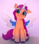 Size: 1495x1687   Tagged: safe, artist:draw3, sunny starscout, earth pony, pony, g5, my little pony: a new generation, alicorn costume, costume, fake horn, fake wings, female, mare, solo