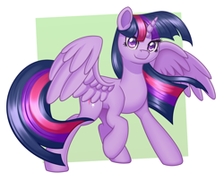 Size: 2000x1616   Tagged: safe, artist:mirrorcrescent, twilight sparkle, alicorn, pony, abstract background, female, solo, spread wings, wings