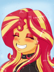 Size: 1500x2000   Tagged: safe, artist:albertbm, sunset shimmer, equestria girls, blushing, choker, eyes closed, female, grin, smiling, solo