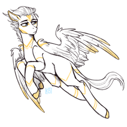 Size: 2048x2048   Tagged: safe, artist:karamboll, pegasus, pony, commission, flying, male, sketch, solo, stallion