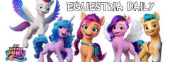 Size: 1000x350   Tagged: safe, hitch trailblazer, izzy moonbow, pipp petals, sunny starscout, zipp storm, earth pony, pegasus, unicorn, equestria daily, g5, my little pony: a new generation, banner, female, looking at you, male, mane five (g5), my little pony: a new generation logo, simple background, transparent background