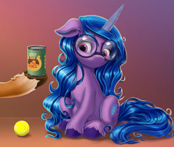 Size: 2000x1686   Tagged: safe, artist:harwick, hitch trailblazer, izzy moonbow, pony, unicorn, g5, ball, beans, can, cloven hooves, cutie mark, floppy ears, food, glasses, gradient background, offscreen character, simple background, sitting, tennis ball, unshorn fetlocks