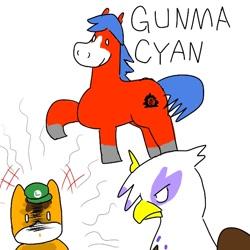 Size: 600x600   Tagged: safe, artist:kushina13, gilda, oc, oc:gunma cyan, earth pony, griffon, pony, cap, female, hat, lidded eyes, luigi's hat, male, pointing, raised hoof, stallion