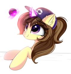 Size: 1635x1707 | Tagged: safe, artist:janelearts, oc, oc:astral flare, cute, ear fluff, hat, levitation, magic, pokéball, pokémon, pokémon trainer, ponytail, smiling, telekinesis