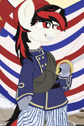 Size: 1600x2400 | Tagged: safe, artist:aaronmk, oc, oc:blackjack, fallout equestria, fallout equestria: project horizons, civil war, clothes, hat, lousiana, saber, smiling, sword, weapon