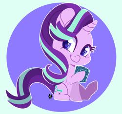 Size: 1280x1196 | Tagged: safe, artist:happyfoxxart, starlight glimmer, pony, unicorn, colored pupils, cute, female, glimmerbetes, hoof hold, mare, mug, sitting, smiling, solo