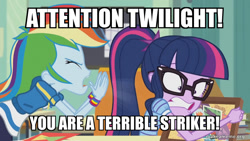 Size: 800x450 | Tagged: safe, edit, edited screencap, screencap, rainbow dash, sci-twi, twilight sparkle, equestria girls, equestria girls series, the last day of school, spongebob squarepants, squid on strike