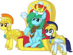 Size: 9015x6810 | Tagged: safe, artist:cyanlightning, oc, oc only, oc:winter leaf, alicorn, pegasus, pony, unicorn, .svg available, absurd resolution, clothes, crown, female, guardsmare, jewelry, male, mare, regalia, royal guard, scepter, simple background, stallion, throne, transparent background, vector