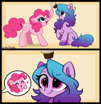 Size: 4560x4670 | Tagged: safe, artist:kittyrosie, izzy moonbow, pinkie pie, earth pony, pony, unicorn, g4, g5, absurd resolution, blushing, bracelet, cupcake, cute, diapinkes, dreamworks face, duo, duo female, eyebrows, eyebrows visible through hair, eyes closed, female, food, happy, heart, horn, horn impalement, izzy impaling things, izzybetes, jewelry, mare, open mouth, open smile, question mark, simple background, sitting, smiling, the new pinkie pie