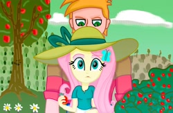 Size: 4096x2668 | Tagged: safe, artist:dashdeviant, big macintosh, fluttershy, equestria girls, apple, apple tree, female, fluttermac, food, hairclip, hat, larger male, male, shipping, smaller female, straight, sun hat, tree