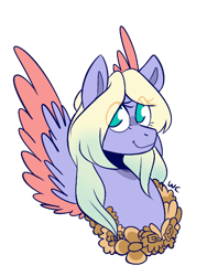 Size: 434x578 | Tagged: safe, artist:waackery, oc, oc only, pegasus, pony, bust, colored wings, eye clipping through hair, eyelashes, female, floral head wreath, flower, mare, pegasus oc, signature, simple background, smiling, solo, transparent background, two toned wings, wings