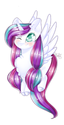 Size: 1715x3338   Tagged: safe, artist:fantisai, oc, oc only, alicorn, pony, alicorn oc, blushing, chest fluff, colored hooves, female, horn, mare, one eye closed, simple background, smiling, solo, transparent background, wings, wink