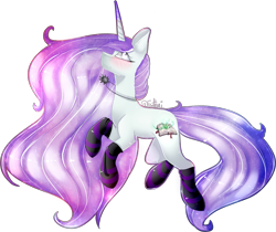 Size: 2735x2293   Tagged: safe, artist:fantisai, oc, oc only, pony, unicorn, clothes, ethereal mane, horn, jewelry, necklace, simple background, socks, solo, starry mane, striped socks, transparent background, unicorn oc