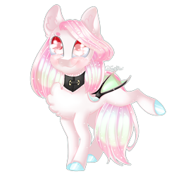 Size: 2000x2000   Tagged: safe, artist:fantisai, oc, oc only, bat pony, pony, bat pony oc, chest fluff, choker, colored hooves, ear fluff, ethereal mane, female, mare, simple background, smiling, solo, starry mane, transparent background