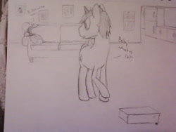 Size: 1280x960   Tagged: safe, artist:zombietator, oc, oc:claire, pony, unicorn, 2013, couch, dialogue, duo, female, horn, indoors, lineart, looking back, male, mare, raised hoof, stallion, traditional art, unicorn oc