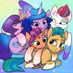 Size: 2048x2048 | Tagged: safe, artist:pfeffaroo, hitch trailblazer, izzy moonbow, pipp petals, sunny starscout, zipp storm, earth pony, pegasus, pony, unicorn, g5, cuddle puddle, cuddling, cute, female, male, mane five (g5), mare, pony pile, smiling, stallion
