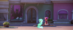 Size: 1822x764 | Tagged: safe, edit, edited screencap, screencap, lyra heartstrings, sunny starscout, earth pony, pony, unicorn, g4, g5, my little pony: a new generation, spoiler:g5, spoiler:my little pony: a new generation, braid, duo, duo female, female, floppy ears, horn, looking down, mare, maretime bay, meme, orange eyes, sitting, sitting lyra, smiling, tail, two toned mane, two toned tail, unshorn fetlocks, what could possibly go wrong