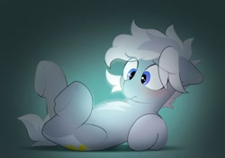 Size: 2064x1457 | Tagged: safe, artist:mochi_nation, oc, oc only, oc:silver bolt, earth pony, pony, blue eyes, blushing, confused, earth pony oc, eye clipping through hair, female, floppy ears, glowing, lying down, mare, on back, shadow, solo, tail, two toned mane, two toned tail, underhoof