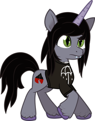 Size: 997x1271   Tagged: safe, artist:lightningbolt, derpibooru exclusive, pony, g5, .svg available, 2d, clothes, disguise, disguised siren, fangs, frown, horn, jewelry, kellin quinn, male, necklace, ponified, raised hoof, shirt, sleeping with sirens, slit pupils, stallion, style emulation, svg, t-shirt, unshorn fetlocks, vector