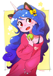Size: 1084x1560   Tagged: safe, artist:nendo, izzy moonbow, human, equestria girls, g5, ball, blushing, cat ears, clothes, cute, equestria girls-ified, fangs, g5 to equestria girls, horn, horned humanization, humanized, izzybetes, looking at you, loose fitting clothes, off shoulder, open mouth, peace sign, snaggletooth, tennis ball