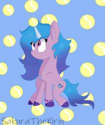 Size: 1280x1518 | Tagged: safe, artist:sakurathekirin, pony, unicorn, g5, ball, female, izzy moonglow, izzy's tennis ball, solo, tennis ball