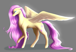 Size: 2248x1552 | Tagged: safe, artist:pearlessentartist, fluttershy, pegasus, pony, female, floppy ears, gray background, long mane, long tail, mare, pink mane, shadow, simple background, solo, spread wings, standing, tail, wings