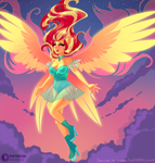 Size: 1904x2000 | Tagged: safe, artist:xjenn9, sunset shimmer, series:my past is not today, equestria girls, my past is not today, boots, choker, clothes, eyes closed, flying, high heels, leotard, open mouth, open smile, ponied up, see-through, shoes, skirt, smiling, solo, spread wings, sunset phoenix, winged humanization, wings