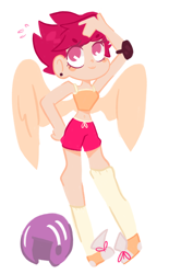 Size: 2020x3248   Tagged: safe, scootaloo, human, artisst:charlll, clothes, helmet, humanized, midriff, shorts, simple background, solo, white background, winged humanization, wings