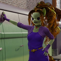 Size: 1620x1620   Tagged: safe, artist:stellarator, adagio dazzle, oc, anthro, unguligrade anthro, comic:we will be adored, comic:we will be adored part 21, 3d, blender, comic panel, cycles, hand on hip, not sfm, open mouth
