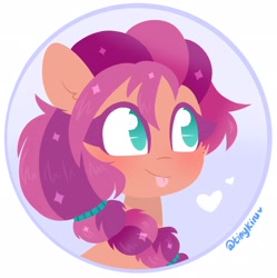 Size: 2036x2048 | Tagged: safe, artist:tinykiru, sunny starscout, earth pony, pony, g5, :p, blushing, bust, cheek fluff, cute, ear fluff, female, heart, high res, icon, lineless, mare, no pupils, portrait, solo, sunnybetes, tongue out