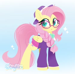 Size: 2048x2026 | Tagged: safe, artist:tinykiru, fluttershy, pegasus, pony, fake it 'til you make it, :o, alternate hairstyle, braid, cute, ear fluff, female, glasses, hat, heart eyes, high res, hipstershy, leg fluff, lineless, mare, open mouth, shyabetes, solo, wingding eyes