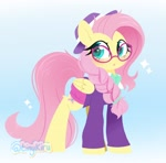 Size: 2048x2026 | Tagged: safe, artist:tinykiru, fluttershy, pegasus, pony, fake it 'til you make it, :o, alternate hairstyle, braid, cute, ear fluff, female, glasses, hat, heart eyes, high res, hipstershy, leg fluff, mare, open mouth, shyabetes, solo, wingding eyes