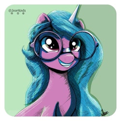 Size: 1125x1125   Tagged: safe, artist:jearknds, izzy moonbow, pony, unicorn, g5, bust, female, glasses, solo